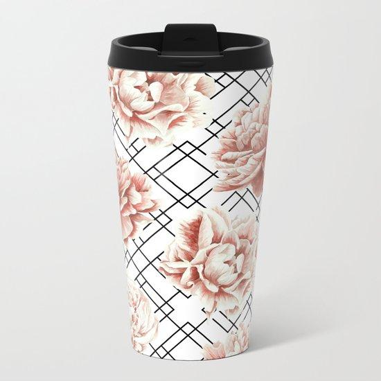 Rose Garden Vintage Rose Pink Cream White Mod Diamond Lattice Metal Travel Mug