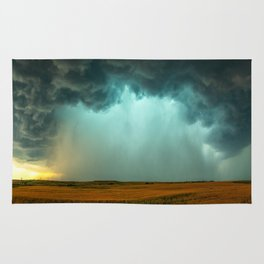 Open the Heavens - Panoramic Storm with Teal Hue in Northern Oklahoma Rug