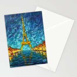 Artwork for sale The night Eiffel Tower Paris is reflected in river Seine original artwork. Stationery Cards