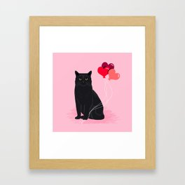 Black Cat valentines day balloons hearts cat breeds must have gifts valentine's day Framed Art Print