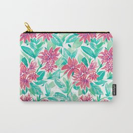 Ixora Hybrid Crimson Star Watercolor Pattern Carry-All Pouch