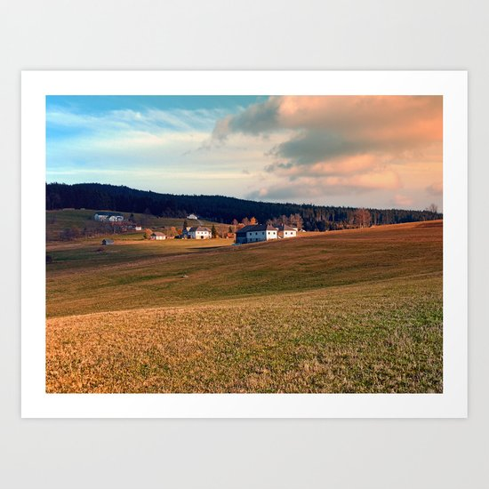 Meadows and farms in rural scenery | landscape photography Art Print