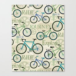 Bicycle Journey Blue Canvas Print