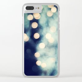 Bokeh Lights Sparkle Photography, Navy Gold Sparkly Abstract Photograph Clear iPhone Case