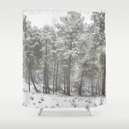 Into the snowstorm. Felling free the mountains.... Shower Curtain
