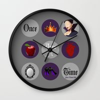 regina mills Wall Clocks featuring Once Upon A Time, Regina Mills by Your Friend Elle