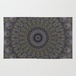 Mandala in grey and green tones Rug