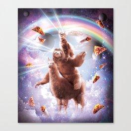 Laser Eyes Space Cat Riding Sloth, Llama - Rainbow Canvas Print