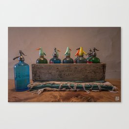 Bottles in a case Canvas Print