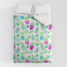 Cute lovely little house plants in glass jars, potted flowers and green leaves cartoons pattern. Comforters