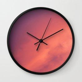 Purple Sky with Orange Clouds Wall Clock