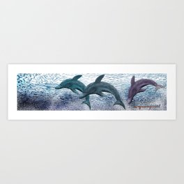 Dolphing Banner Art Print