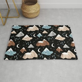 Rock Climbing under the new moon stars and mountains pattern Rug