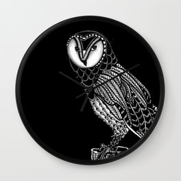 Tangled Barn Owl on Black Wall Clock