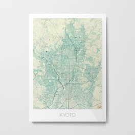 Kyoto Map Blue Vintage Metal Print