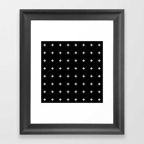 White Plus on Black /// www.pencilmeinstationery.com Framed Art Print
