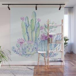 Mixed Cacti Light Blue #society6 #buyart Wall Mural