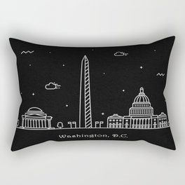 Washington D.C. Minimal Nightscape / Skyline Drawing Rectangular Pillow