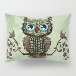 Cute  owl, green diamond Pillow Sham