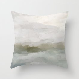 Gray Blue Sage Green Sunrise Abstract Nature Ocean Painting Art Print Wall Decor  Throw Pillow