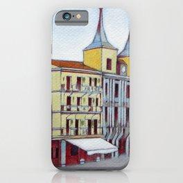 Postcard from Plaza Mayor, Segovia, Spain iPhone Case