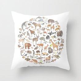 100 animals Throw Pillow