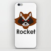 rocket raccoon iPhone & iPod Skins featuring Rocket by Pop Culture Fanatics