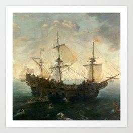 Vintage Pacific Ocean Coastal Sail Art Print