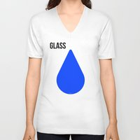 glass V-neck T-shirts featuring GLASS by try2benice