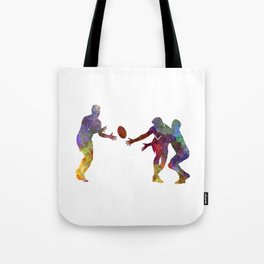 Rugby men players 02 in watercolor Tote Bag