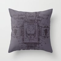 postcard Throw Pillows featuring Sinful POSTCARD by Tshirt-Factory