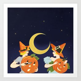 Vintage Halloween Costume Party Pumpkin Carving Art Print