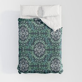 Lumpy Damask in Green and Blue Duvet Cover