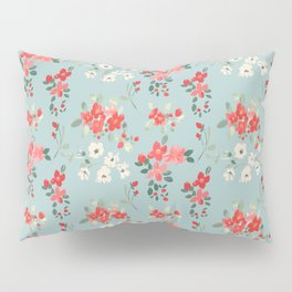 Ditsy Pink and White Floral Pattern Pillow Sham