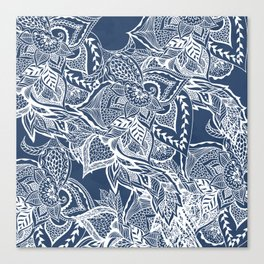 Modern navy blue peony white hand drawn floral watercolor pattern Canvas Print