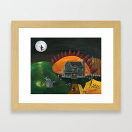 Hilly Haunted House Framed Art Print