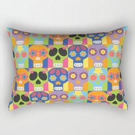 Color Block Sugar Skulls, Day Of The Dead Rectangular Pillow