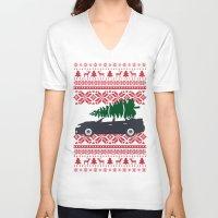 subaru V-neck T-shirts featuring Happy Holidays - Subaru Christmas Sweater by E. Phillips - Creative Designer