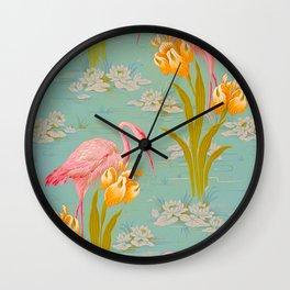 Papier peint - Isidore Leroy - 1905 Flamingo Pond Floral Pastel Pattern Wall Clock