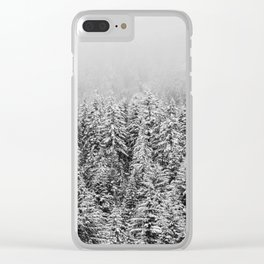 Black and White Snowy trees Clear iPhone Case