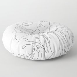 Minimal Line Art Summer Bouquet Floor Pillow