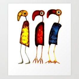 THREE FUNNY BIRDS Art Print