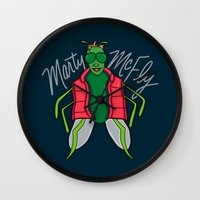 mcfly Wall Clocks featuring Marty McFly by Chelsea Herrick