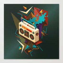 Bust Out The Jams Retro 80s Boombox Splash Canvas Print
