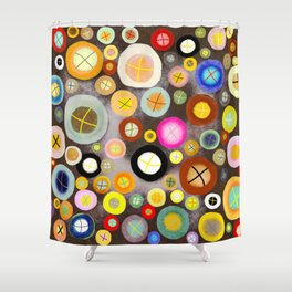 The incident - Circles pale vintage cross Shower Curtain