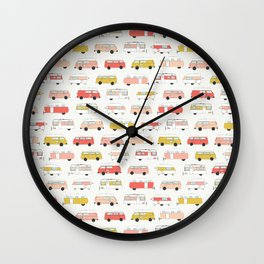 Pink and Yellow Campers Wall Clock