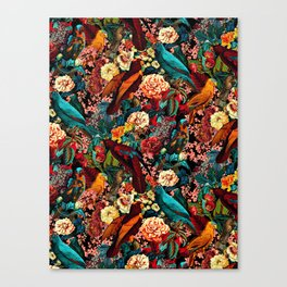 FLORAL AND BIRDS XVII Canvas Print