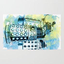 Dalek inspired mixed media watercolor Rug