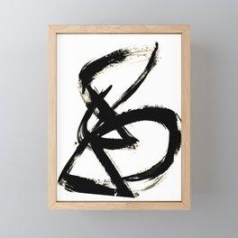 Brushstroke 3 - a simple black and white ink design Framed Mini Art Print