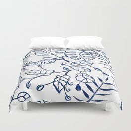 Tropical Plant Boho Chinoiserie Blue and White Duvet Cover